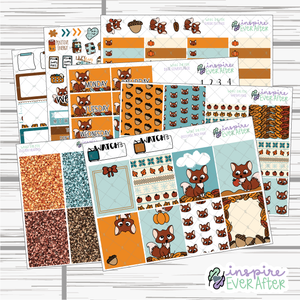 What the Fox Weekly Kit ~ Hand Drawn Fall ~ Seasonal Stickers ~ Planner Stickers