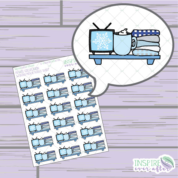 Winter Movie Shelf ~ Hand Drawn Winter Decor ~ Petite Collection ~ Planner Stickers