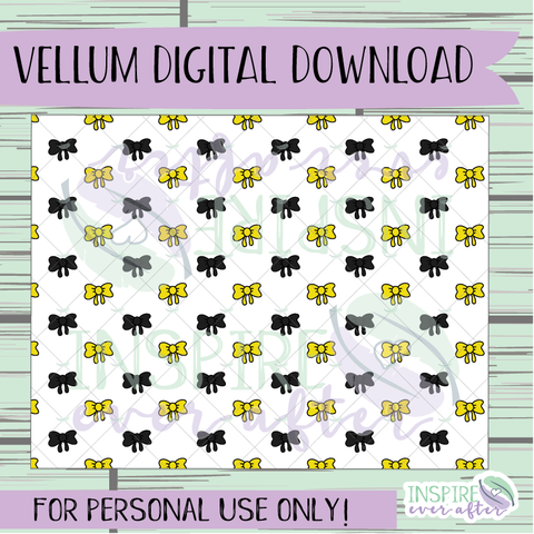 Magical Yellow House Bow Vellum ~ Digital Download ~ Hand Drawn Digitals