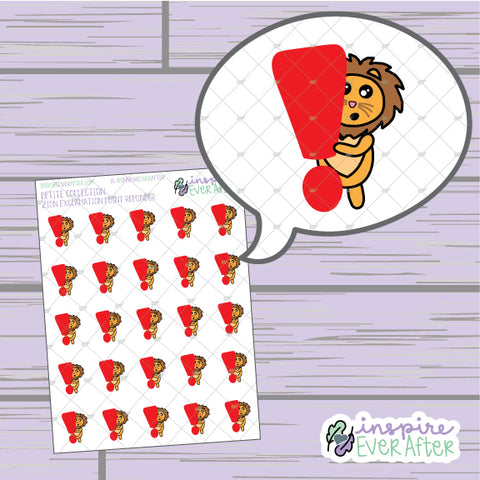 Zion the Lion Exclamation Point Reminder ~ Hand Drawn Important Reminder Character ~ Petite Collection ~ Planner Stickers