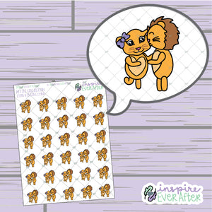 Zion the Lion Kissin' Luna ~ Hand Drawn Couple Character Doodle ~ Petite Collection ~ Planner Stickers