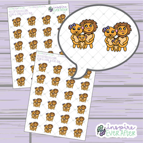 Zion & Luna the Lions & Cub ~ Choose Your Cub! ~ Hand Drawn Family Character Doodle ~ Petite Collection ~ Planner Stickers