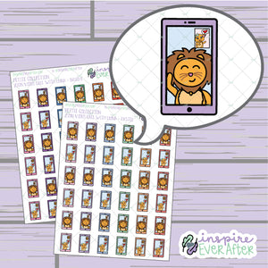 Zion & Luna the Lions Video Phone Call ~ Bright OR Pastel ~ Hand Drawn Character Communication Icon ~ Petite Collection ~ Planner Stickers
