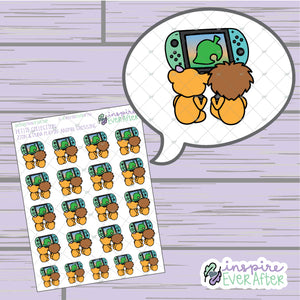Crossin' Animals: Zion & Luna the Lions Playin' Together ~ Hand Drawn Couple Characters ~ Petite Collection ~ Planner Stickers