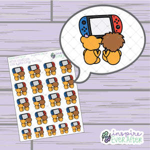 Zion & Luna the Lions Playin' Video Games ~ Hand Drawn Gaming Couple Characters ~ Petite Collection ~ Planner Stickers