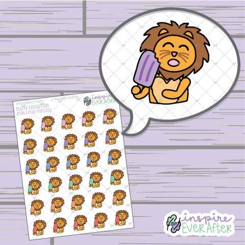 Zion the Lion Eatin' Popsicles ~ Hand Drawn Foodie Character ~ Petite Collection ~ Planner Stickers