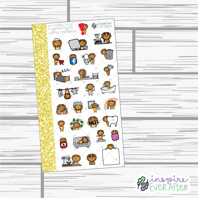 Zion the Lion Sampler ~ Hand Drawn Character Stickers ~ Planner Stickers