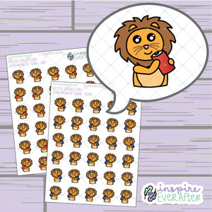 Zion the Lion Drinkin' Soda ~ Blue OR Red ~ Hand Drawn Character Beverage Icon ~ Petite Collection ~ Planner Stickers
