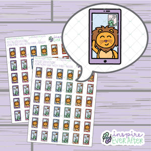 Zion the Lion and Theo the Turtle Video Phone Call ~ Bright OR Pastel ~ Hand Drawn Character Friends Icon ~ Petite Collection ~ Planner Stickers