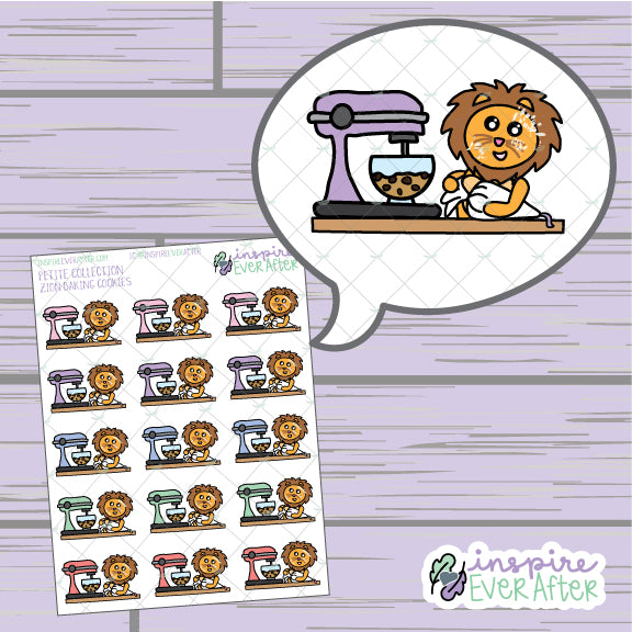 Zion the Lion Baking Cookies ~ Hand Drawn Character Foodie/ Baking Icon ~ Petite Collection ~ Planner Stickers