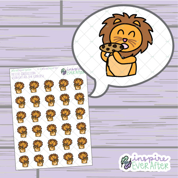 Zion the Lion Eatin' Cookies ~ Hand Drawn Character Foodie/Dessert Icon ~ Petite Collection ~ Planner Stickers