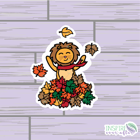 Zion the Lion Playing in a Pile of Leaves Die Cut ~ Hand Drawn Fall Planner Accessories