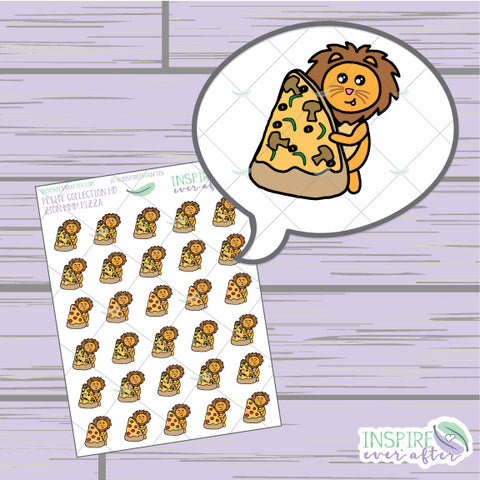 Zion the Lion MMM Pizza ~ Hand Drawn Petite Collection ~ Planner Stickers