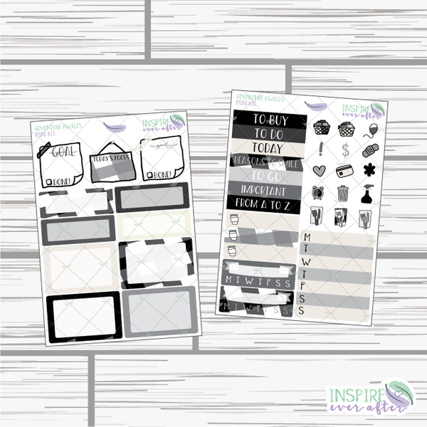 Adventure Awaits Mini Weekly Kit ~ Hand Drawn Neutral Kit ~ Planner Stickers
