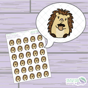 Hedgehog with Acorn ~ Hand Drawn Petite Collection ~ Planner Stickers