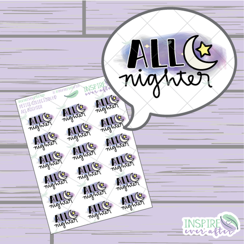 ALL Nighter ~ Hand Drawn Petite Collection ~ Planner Stickers