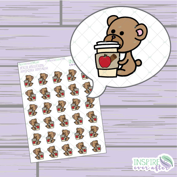 Apple Cider Teddy Bears ~ Hand Drawn Petite Collection ~ Planner Stickers