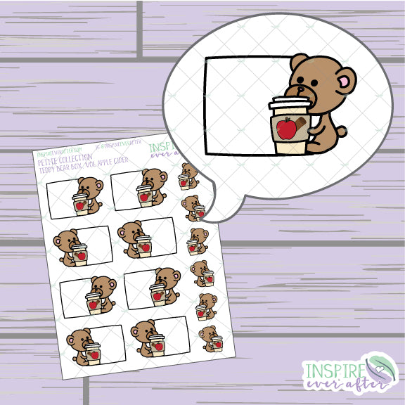 Teddy Bear Box, Vol Apple Cider ~ Hand Drawn Petite Collection ~ Planner Stickers