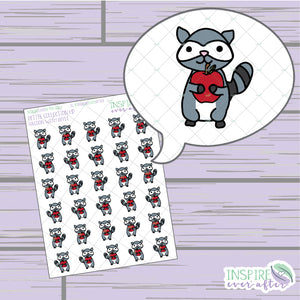 Raccoon with Apple ~ Hand Drawn Petite Collection ~ Planner Stickers