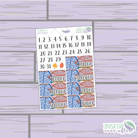 Autumn Sky Date Covers ~ Planner Stickers