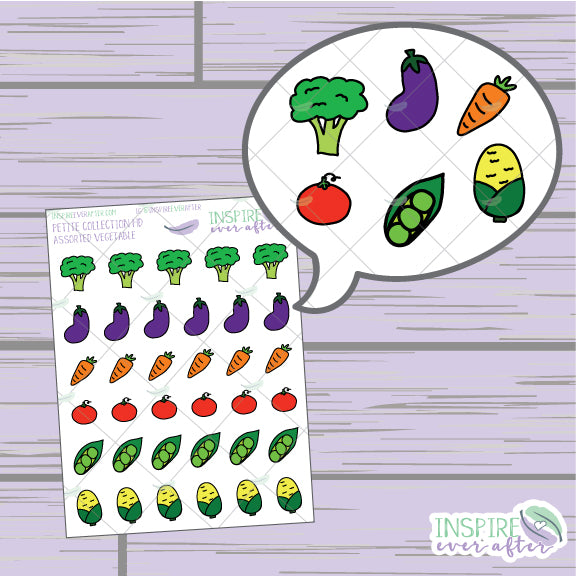 Assorted Vegetables ~ Hand Drawn Food Icons ~ Petite Collection ~ Planner Stickers