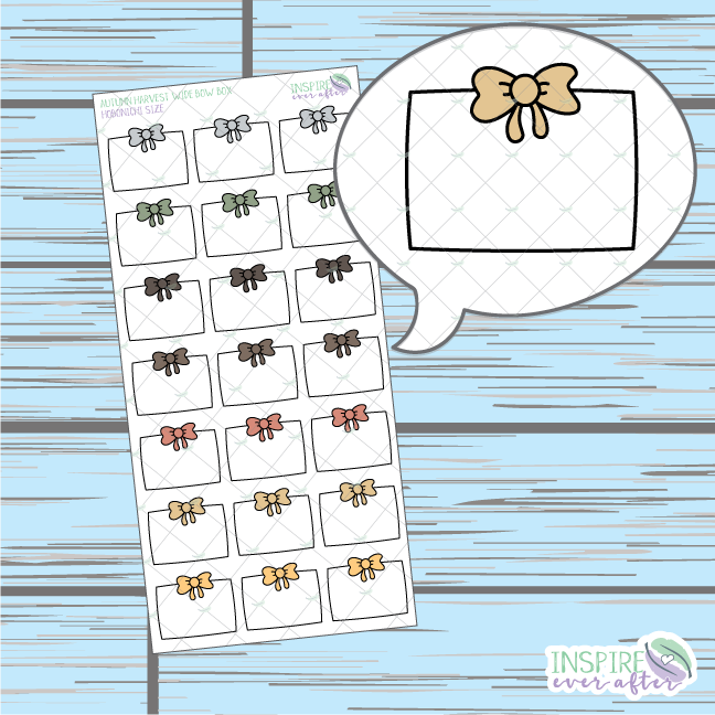 Autumn Harvest Wide Bow Box Doodle ~ Hand Drawn Hobonichi Functionals ~ Planner Stickers