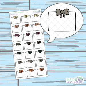 Autumn Hues Wide Bow Box Doodle ~ Hand Drawn Hobonichi Functionals ~ Planner Stickers