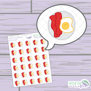 Bacon & Eggs ~ Hand Drawn Food ~ Petite Collection ~ Planner Stickers
