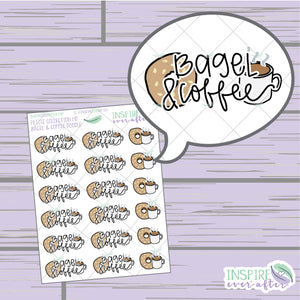 Bagels & Coffee Doodle ~ Hand Drawn Food Icons ~ Petite Collection ~ Planner Stickers