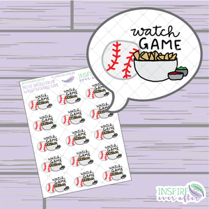 Watch Baseball Game ~ Hand Drawn Petite Collection ~ Planner Stickers
