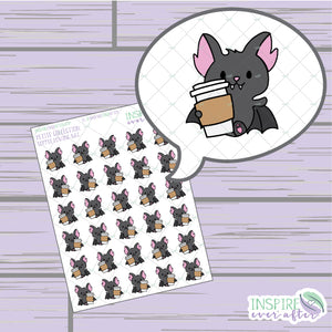 Coffee Loving Bat ~ Hand Drawn Beverage Icons ~ Petite Collection ~ Planner Stickers