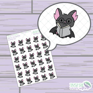 Reading Bat ~ Hand Drawn Book Icons ~ Petite Collection ~ Planner Stickers