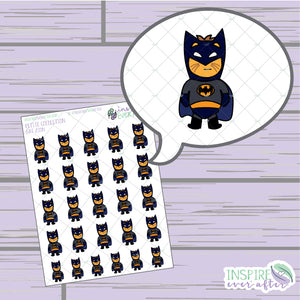 Bat Zion the Lion ~ Hand Drawn Superhero Petite Collection ~ Planner Stickers