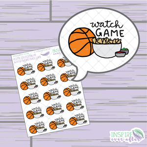 Watch Basketball Game ~ Hand Drawn Petite Collection ~ Planner Stickers