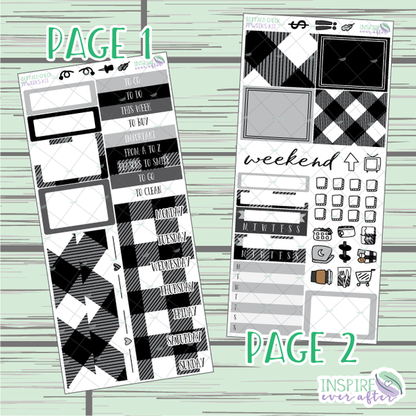 Buffalo Check PPWeeks Weekly Kit ~ Hand Drawn Functional Planner Stickers
