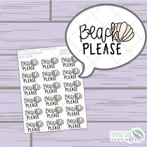 Beach Please ~ Hand Drawn Sassy Quote Petite Collection ~ Planner Stickers