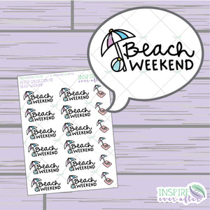 Beach Weekend ~ Hand Drawn Petite Collection ~ Planner Stickers