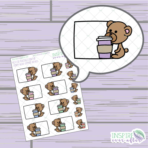 Teddy Bear Box, Vol. 2 ~ Hand Drawn Petite Collection ~ Planner Stickers