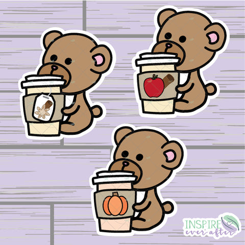 Fall Beverage Teddy Bear Die Cuts ~ Apple Cider, Chai Tea, OR Pumpkin Spice Latte ~ Hand Drawn Fall Beverage ~ Planner Accessories