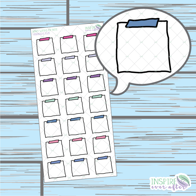 Berry Top Washi Note Doodle ~ Hand Drawn Hobonichi Functionals ~ Planner Stickers