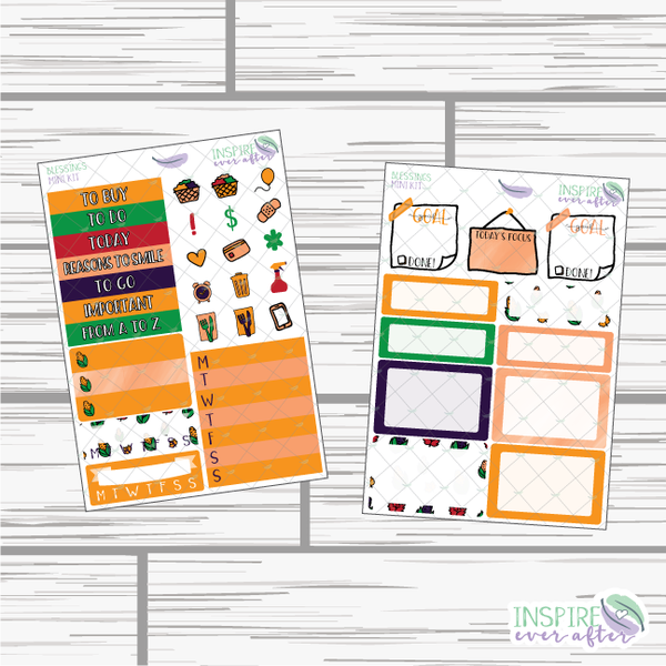 Blessings Mini Weekly Kit ~ Hand Drawn Planner Stickers