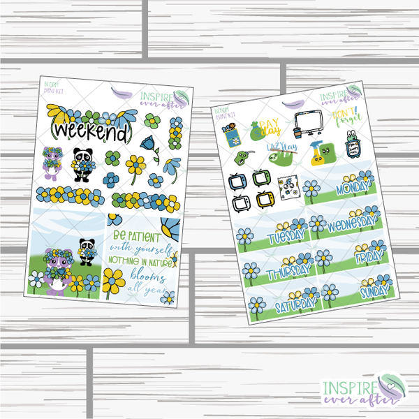 Bloom Mini Weekly Kit ~ Hand Drawn Planner Stickers