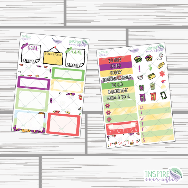 Blossom Mini Weekly Kit ~ Hand Drawn Planner Stickers