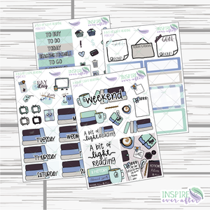 A Bit of Light Reading Mini Weekly Kit ~ Hand Drawn Planner Stickers