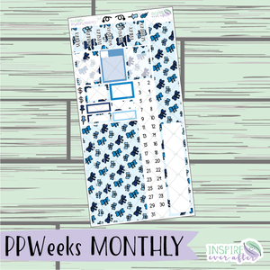 Blue Bow PPWeeks Monthly Kit ~ Hand Drawn Functional Planner Stickers