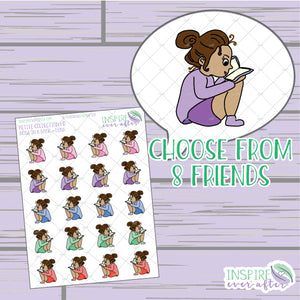 Lena & Friends Nose in Her Book ~ Hand Drawn Petite Collection ~ Planner Stickers