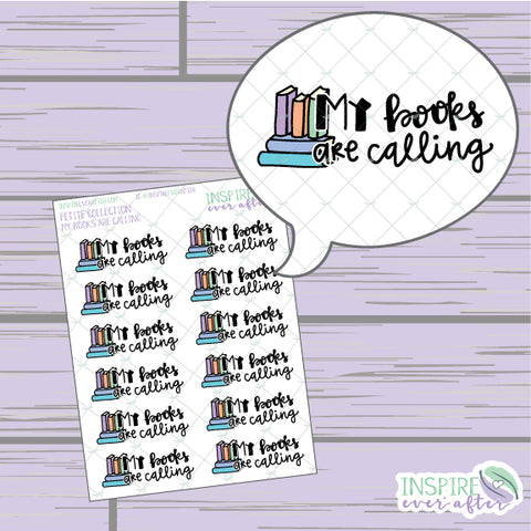 My Books are Calling ~ Hand Drawn Petite Collection ~ Planner Stickers