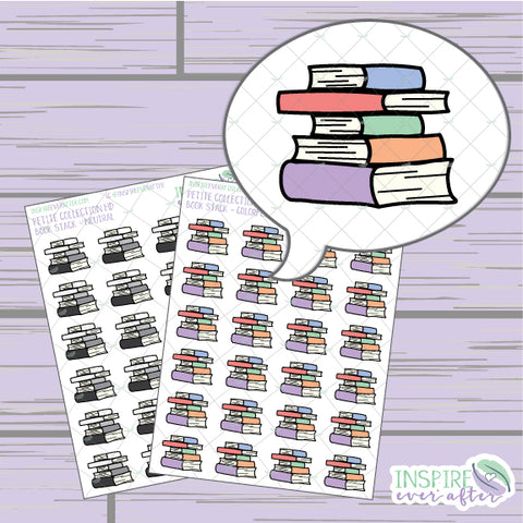 Book Stack ~ Colorful OR Neutral ~ Hand Drawn Petite Collection ~ Planner Stickers