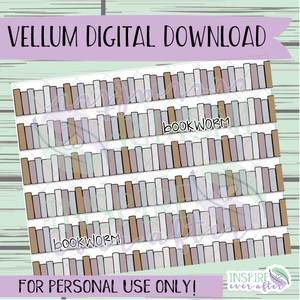 Bookworm Vellum ~ Digital Download ~ Hand Drawn Digitals