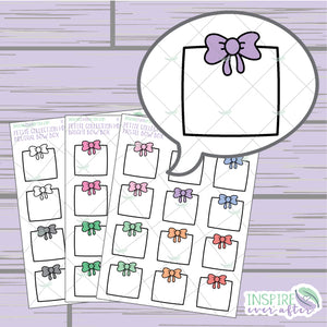 Bow Box ~ Pastel, Bright OR Neutral ~ Hand Drawn Petite Collection ~ Planner Stickers